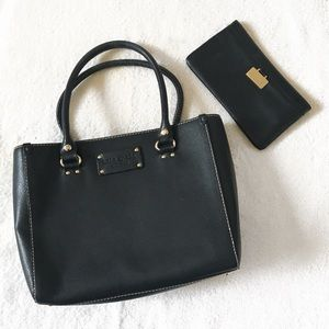 • kate spade • black leather classic satchel bag